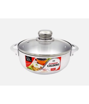1.8QT ALUMINUM CALDERO W/GLASS COVER 6CT