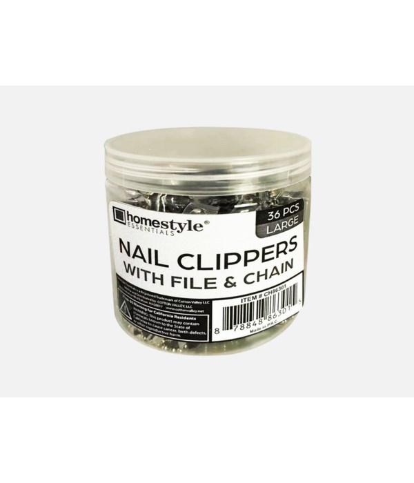 36PCS NAIL CLIPPERS W/CHAIN IN JAR