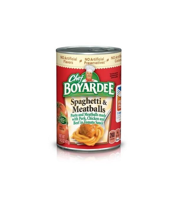 CHEF BOYARDEE SPAGHETTI&MEATBALLS 24/15OZ