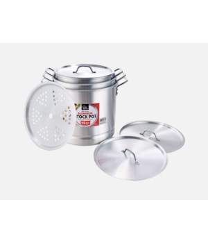 ALUMINUM STOCK POT SET W/STEAMER 24,32,40QT 3CT