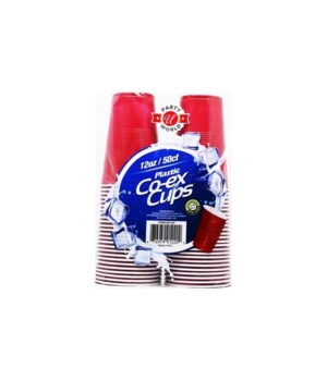 12OZ PLASTIC CUPS RED 12/50CT