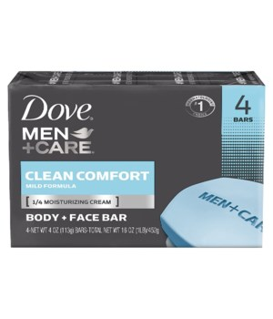 DOVE BAR SOAP 100GR CLEAN CONFORT FOR MEN 12/4PK