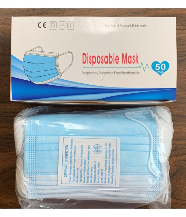 DISPOSABLE TRIPLE LAYER FACE MASK 50CT (BOX)