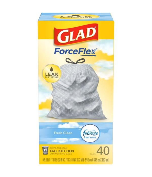 GLAD FORCE FLEX  CLEAN FRESH 6/40CT