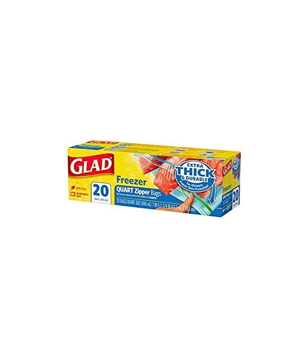GLAD BAGS FREEZER 12/20 CT