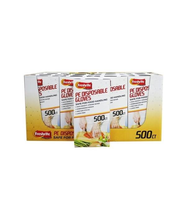 PE DISPOSABLE GLOVES 20/500 CT