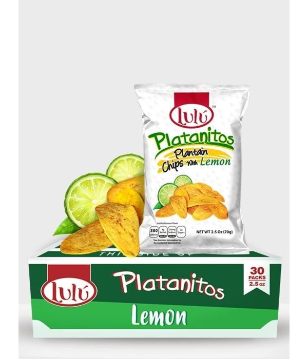 LULU PLATANITOS PLANTAIN CHIPS WITH LEMON 30/2.5OZ