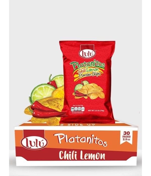 LULU PLATANITOS CHILLI LEMON PANTAIN CHIPS 30/2.5OZ