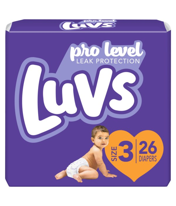 LUVS PRO LEVEL LEAK PROTECTION DIAPERS SIZE 3/26CT
