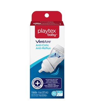 PLAYTEX VENT AIRE ANTI-COLIC BABY BOTTLE 6OZ 0M+ 1DZ
