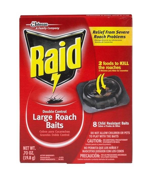 RAID LARGE ROACH DOUBLE CONTROL BAITS 6/8CT(01619)