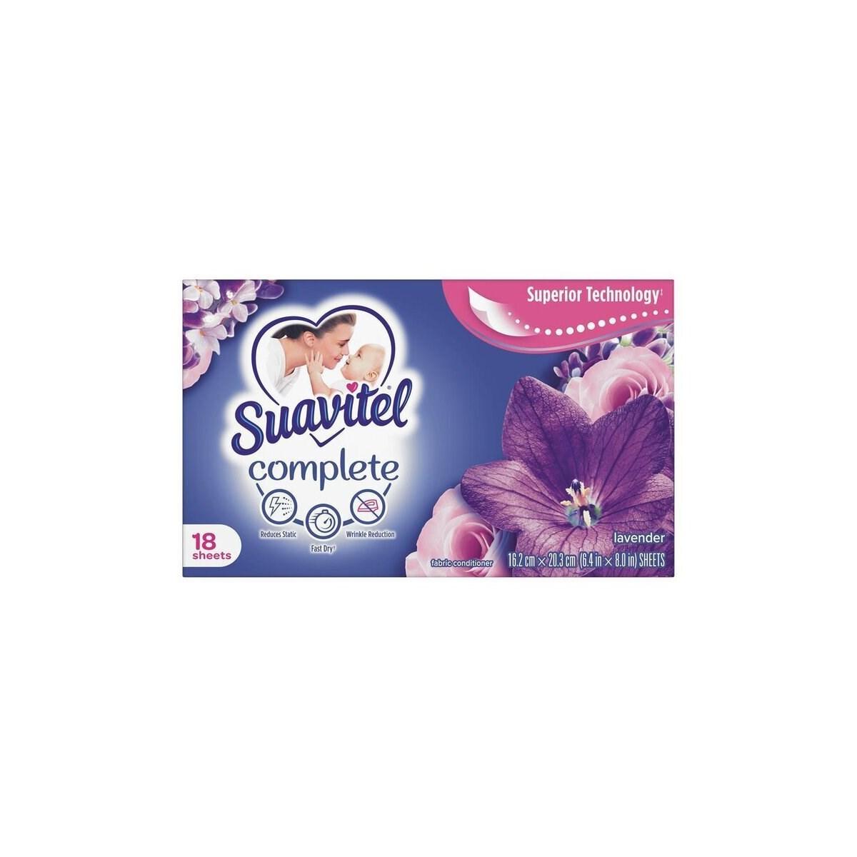 SUAVITEL FABRIC SOFTNER SHEETS SOOTHING LAVANDER 15/18CT