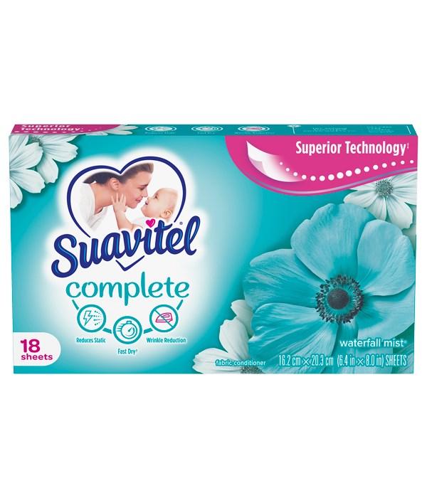 SUAVITEL COMPLETE DRYER SHEETS WATERFALL MIST 15/18CT