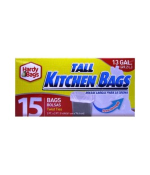 KITCHEN BAGS 13GL 24/15CT