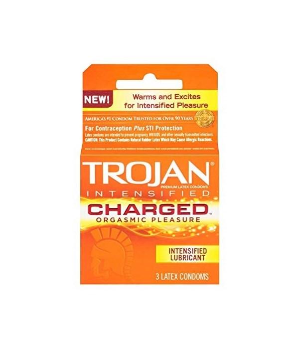 TROJAN CONDOMS CHARGED 12/3PK