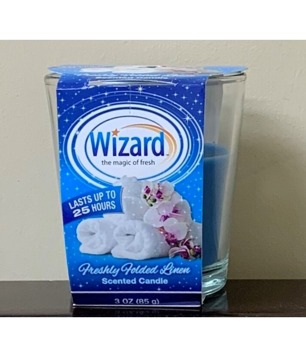 WIZARD SCENTED CANDLE FRESHLY FOLDED LINEN 12/3OZ