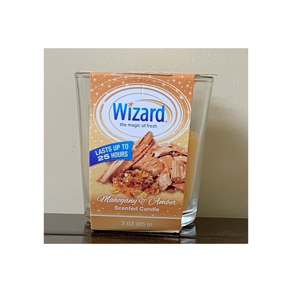 WIZARD SCENTED CANDLE MAHOGANY&AMBER 12/3OZ