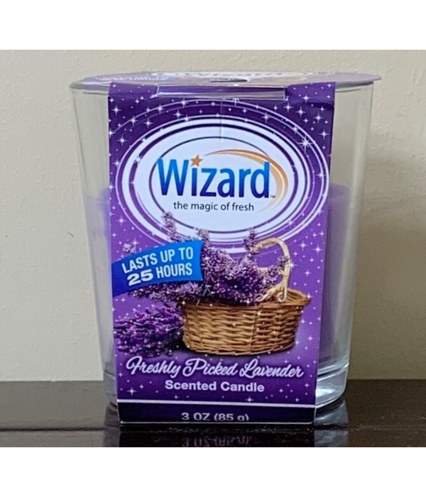 WIZARD SCENTED CANDLE FRESHLY PICKED LAVANDER 12/3OZ