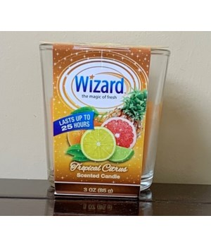 WIZARD SCENTED CANDLE TROPICAL CITRUS 12/3OZ