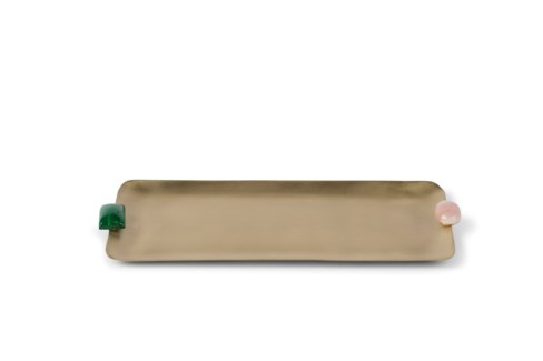 Soba Tray (Sm) - Satin Brass w/ Natural Stone Detail