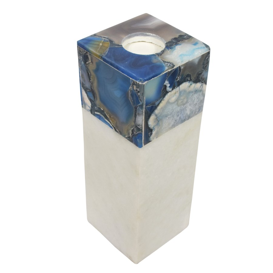 Adria Candle Holder Tall - Agate & Marble