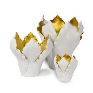 Kobu Candle Holder Set - White & Old Gold