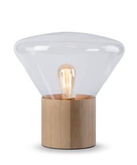 Yoko Lamp - (Small) - Natural Wood, Clear Glass