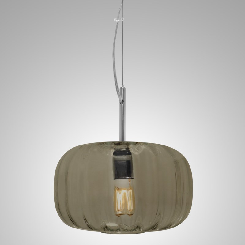 Lady Di Flat Pendant - Nickel, Smoke Green Lineo Glass