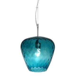 Hermione Pendant (Lg) - Nickel, Smoke Blue Tuft Glass