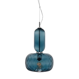 Hooray Henry Pendant - Nickel, Marine Blue Tuft Glass
