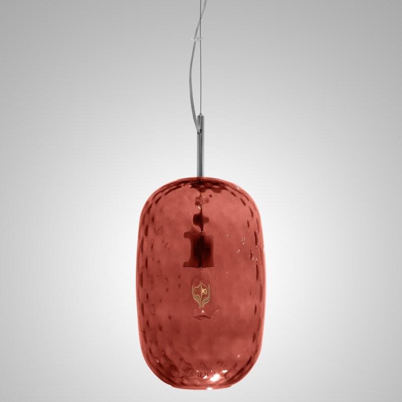 Lady Di Oval Pendant - Nickel, Marsala Tuft Glass