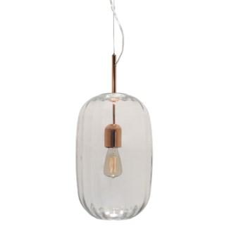 Lady Di Oval Pendant - Copper, Cristale Lineo Glass