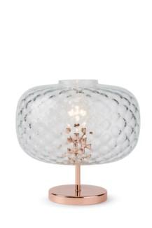 Charlotte Flat Table Lamp - Copper, Cristale Tuft Glass