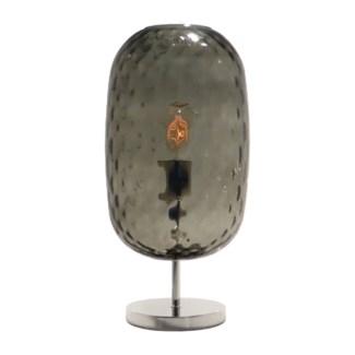 Charlotte Oval Table Lamp - Nickel, Smoke Green Tuft Glass