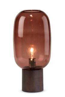 Pippa Table Lamp - Dark Wood, Marsala Glass