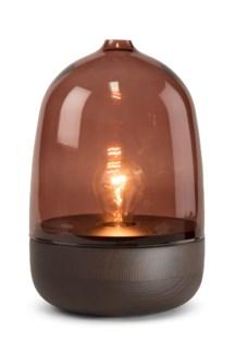 Georgie Table Lamp - Dark Wood, Marsala Glass