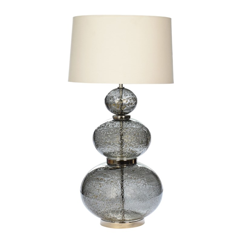 Maggie May Table Lamp - Vulkanic Glass, Smoke Grey