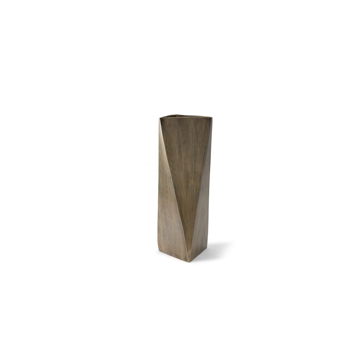 Hexx Vase (Square Tall) - Hand Finished Brass