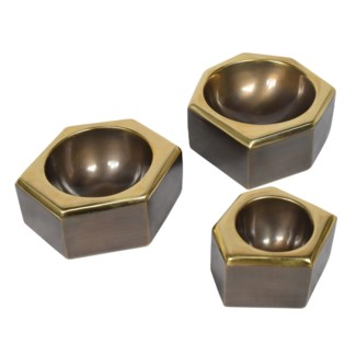 Castro Bowl Set (1xSm, 2x Med) - Antique Oil Rubbed Brass
