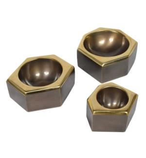 Castro Bowl Set (1xSm, 2x Med) - Antique Oil Rubbed Brass