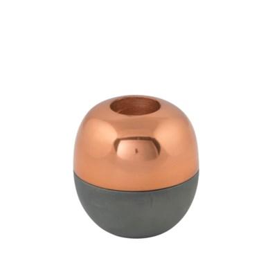 Isho Tealight Holder (Short) - Grey, Copper