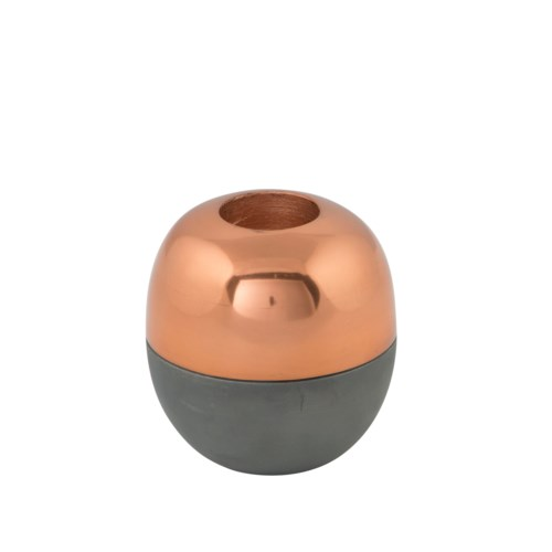 Isho Tealight Holder (Short) - Grey, Copper