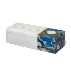 Vita Tealight Holder - Polished Marble, Blue Agate