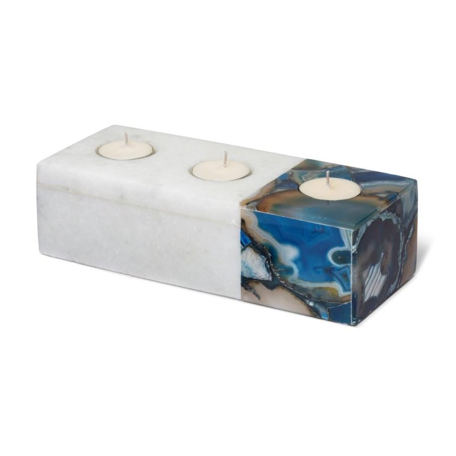 Vita Tealight Holder - Polished Marble, Blue Agate