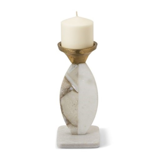 Vita Candle Holder - Polished Marble, Blue Agate