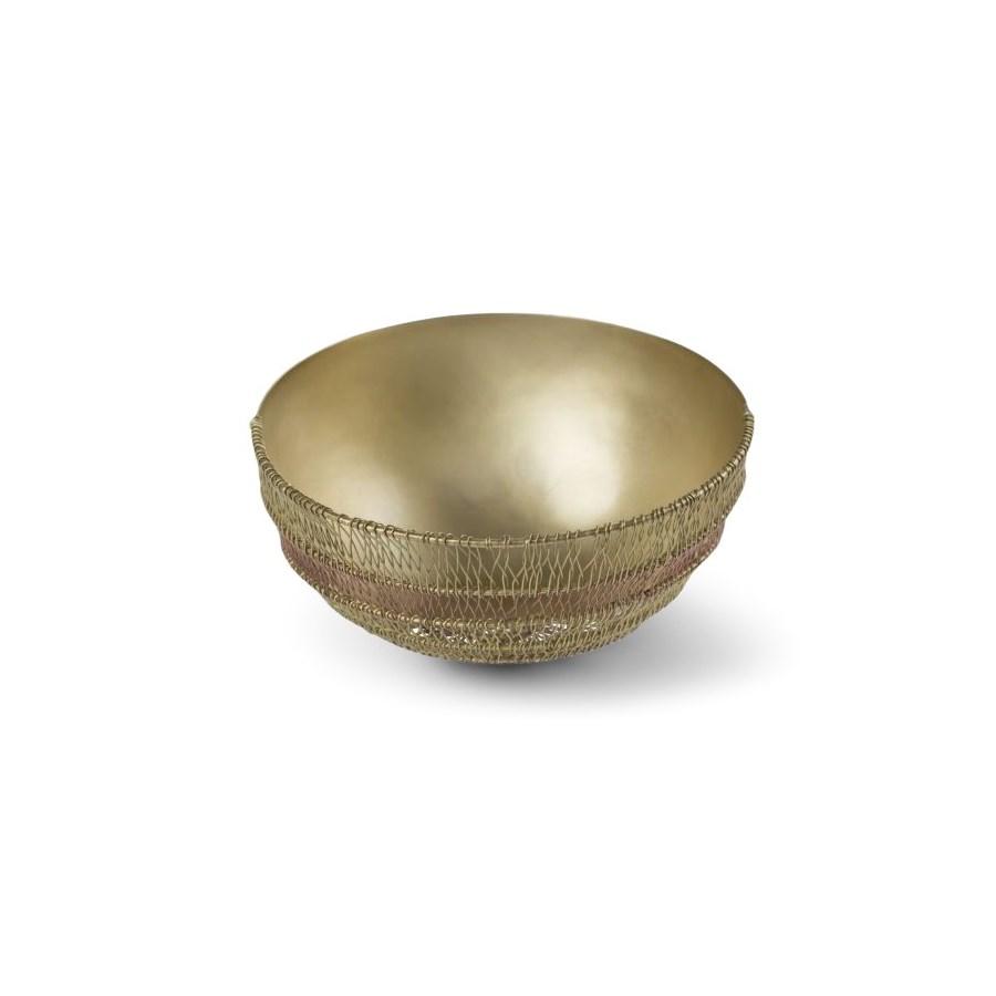 Suri Bowl (Lg) - Woven Copper and Satin Brass