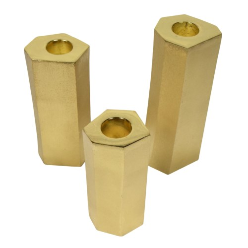 Noko Candle Holder Set - Matte Brass