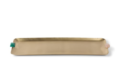 Soba Tray (Lg) - Satin Brass w/ Natural Stone Detail