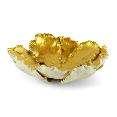 Kuri Bowl - White & Old Gold
