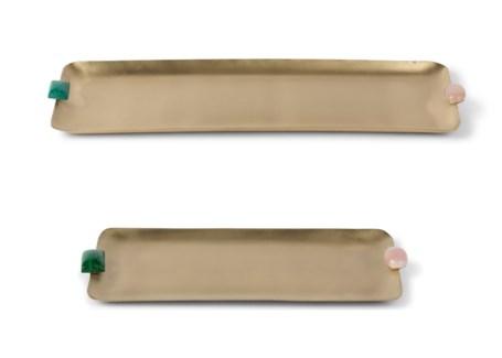 Soba Tray Set - Satin Brass W/ Natural Stone Detail